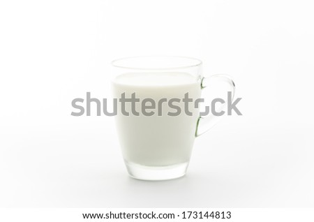 Milk in a glass isolated white background.