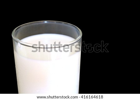 Milk in glass on black background