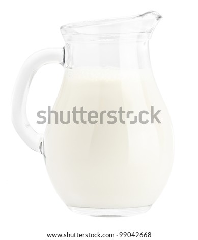 Milk in pitcher isolated - stock photo
