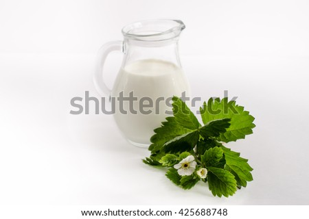 milk in the cruet with flowers on white background - stock photo