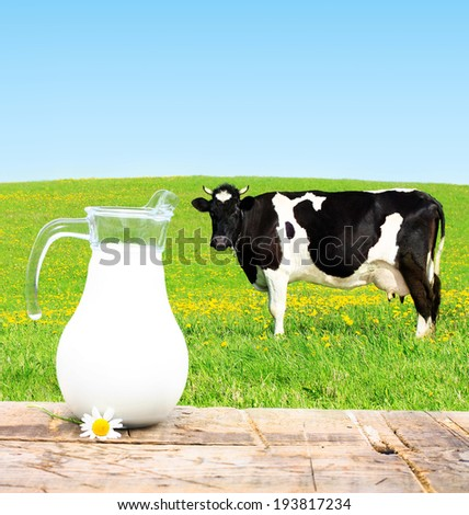 Milk jar and cow grazing on a green meadow. - stock photo