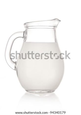 Milk jug over white background - stock photo