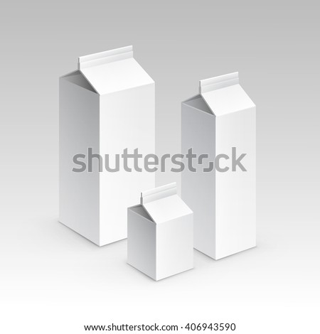 Milk Juice Carton Packaging Package Box White Blank Isolated Set