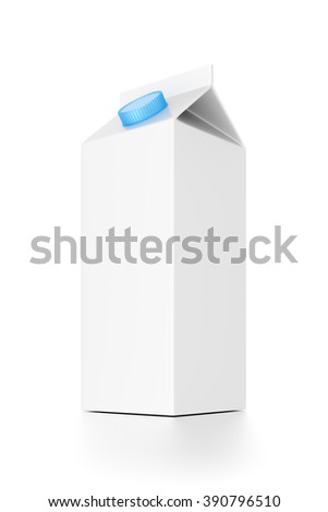Milk or juice package isolated on white background.