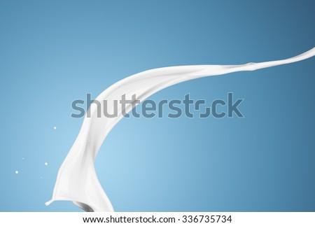 milk or white liquid splash on blue background. isolated - stock photo