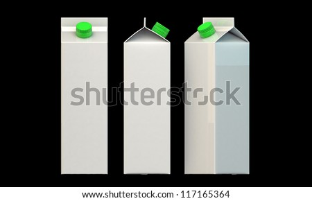 milk package with green cap isolated on black background