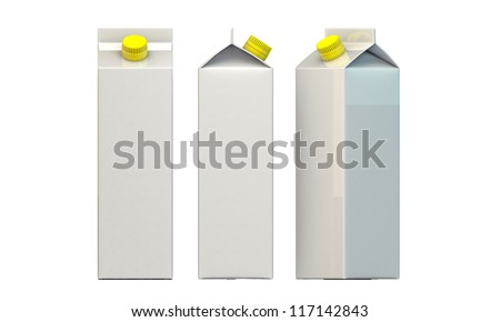 milk package with yellow cap isolated on white background