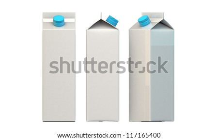 milk packages with blue cap isolated on white background