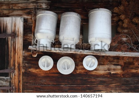 milk pot - stock photo