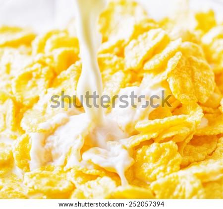 Milk pouring  into corn flakes. - stock photo