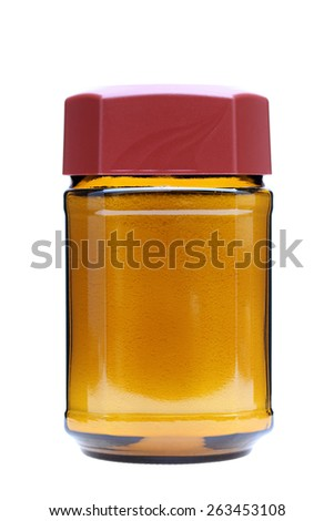 milk powder in a glass bottle for coffee - stock photo