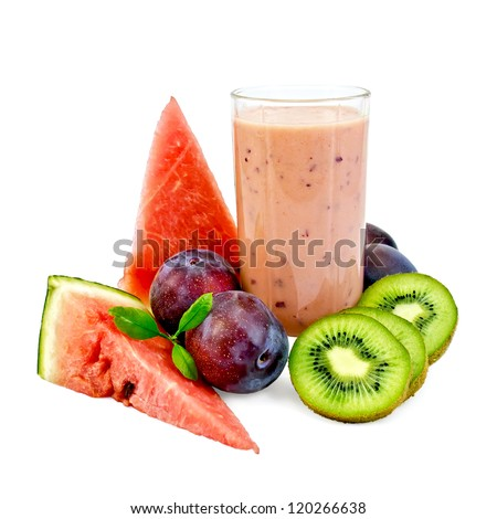 Milk shake in a glass beaker with plums, kiwi and watermelon isolated on white background - stock photo
