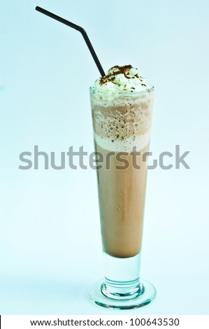 Milk shakes with coffee isolated on white and blue - stock photo