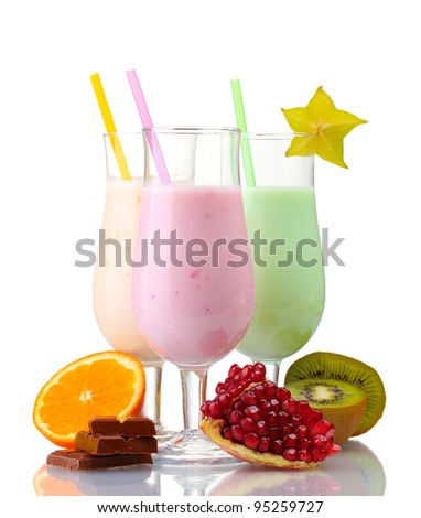 Milk shakes with fruits isolated on white