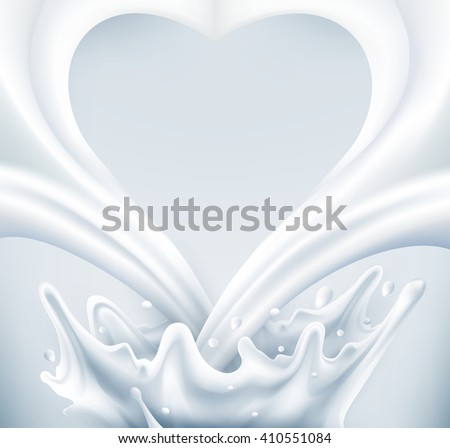 Milk splash in the form of heart on a gray background(JPEG Version) - stock photo