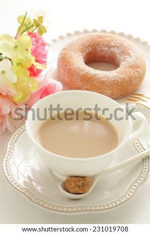 milk tea and sugar donut - stock photo