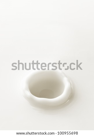 Milk. Template for the falling in the milk of berry or a piece of fruit