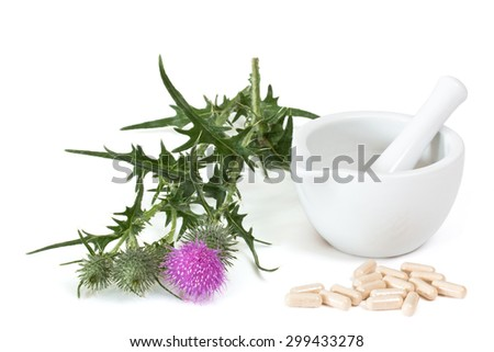 Milk thistle and capsules near mortar and pestle on white background