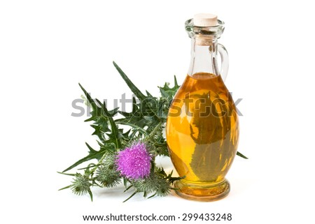 Milk thistle near glass bottle with oil on white background - stock photo