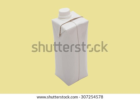 Milk (Water, Juice, Liquid) box shape container in white colour isolated on yellow.