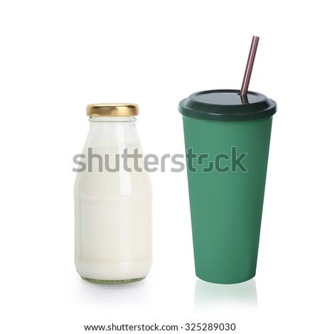 milk with ice coffee for Healthy choices isolated on white background with clipping path. - stock photo