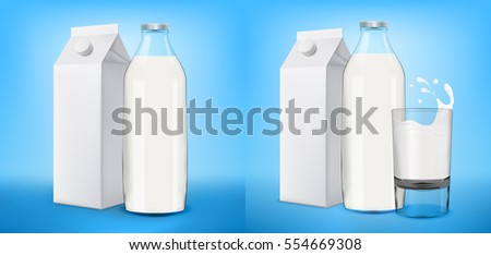 Milk with juice glass and bottle on blue background realistic illustration. Bitmap copy.