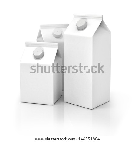 Milks pack isolated on white  - stock photo