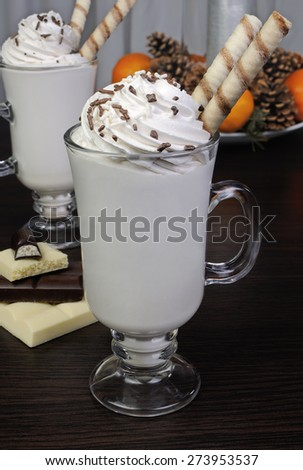 Milkshake with whipped cream white and dark chocolate