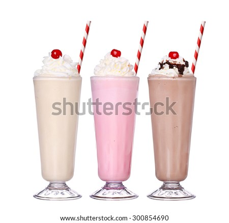 milkshakes chocolate flavor ice cream set collection with cherry on top isolated on white background - stock photo