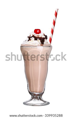 milkshakes chocolate flavor with cherry on top and whipped cream isolated on white background - stock photo