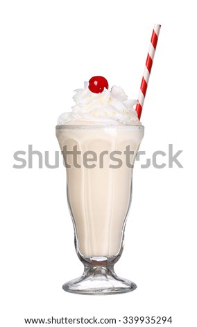 milkshakes vanilla flavor with cherry on top and whipped cream isolated on white background - stock photo