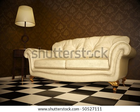 milky leather sofa in darkness room