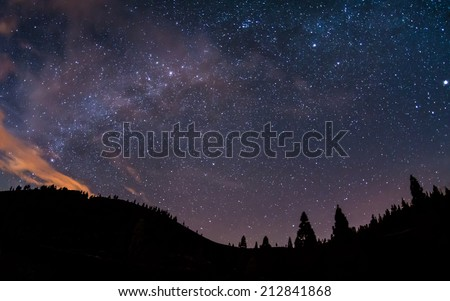 Milky Way above Teide National Park at Tenerife - stock photo