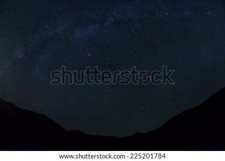 Milky way and dark valley  - stock photo