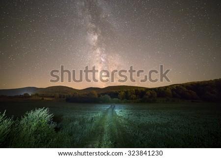 Milky way and green way in Croatia, Europe - stock photo