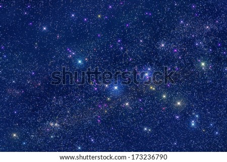 Milky Way and hundreds of thousands stars in deep space. - stock photo