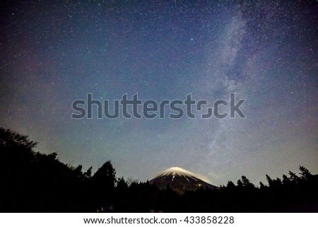 Milky Way and Mount Fuji in Japan.  - stock photo