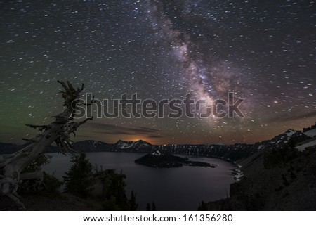 Milky Way at Crater Lake - stock photo