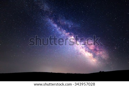 Milky Way. Beautiful summer night sky with stars. Background. - stock photo
