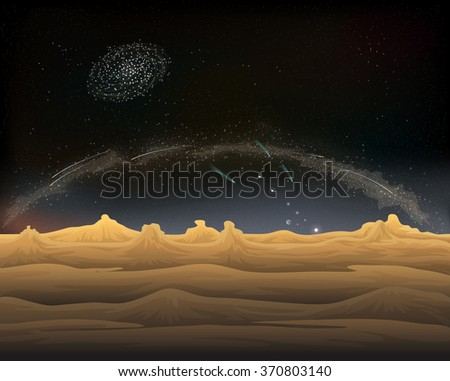 Milky way from dessert in the night view - stock photo