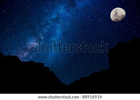 Milky Way Galaxy and Moon, Amazing Night Sky - stock photo