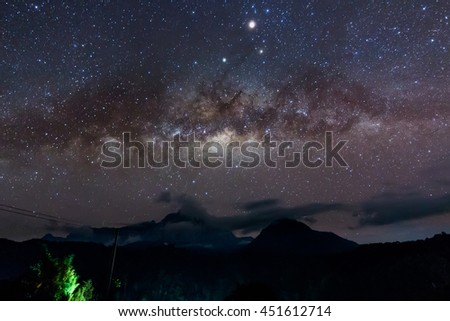Milky Way galaxy at Borneo, Long exposure photograph, with grain.Image contain certain grain or noise and soft focus.