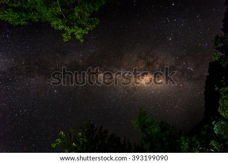 Milky way galaxy detail with stars and space dust in the universe, slow speed exposture. - stock photo