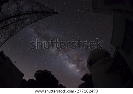 Milky Way galaxy, Galaxies near our world the most. Can be seen with the naked eye. In good weather, the night sky. - stock photo