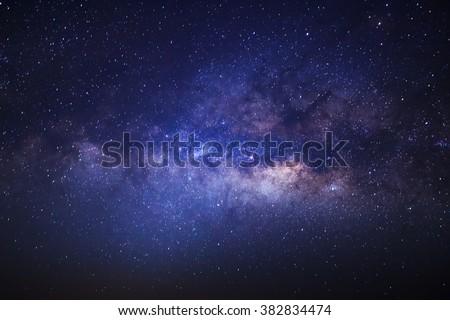 Milky Way galaxy, Long exposure photograph, with grain. - stock photo