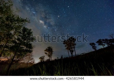 Milky Way galaxy, Long exposure photograph, with grain.Image contain certain grain or noise and soft focus.  - stock photo