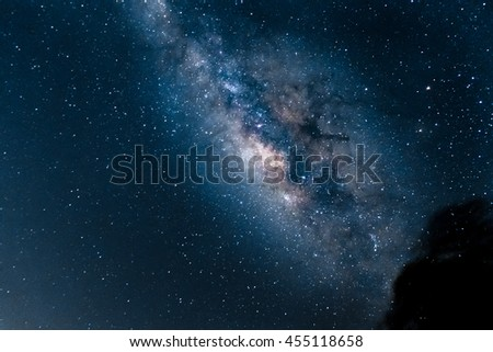 Milky Way galaxy, Long exposure photograph, with grain,noise