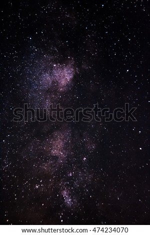 Milky Way galaxy, Long exposure photography, beautiful night sky. Night sky with lot of shiny stars. Note: Soft Focus and grain at 100 , best smaller sizes.