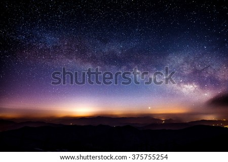 Milky Way Galaxy over Mountain at Night, Deogyusan mountain in South Korea. - stock photo