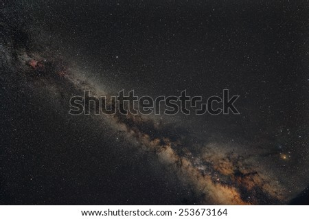 Milky way in a starry night summer - stock photo